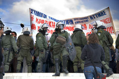 Émeutes à Athènes Photographie stock libre de droits