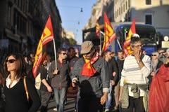 Émeutes à Rome - protestation italienne d'étudiants Photographie stock