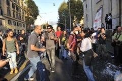 Émeutes à Rome - protestation italienne d'étudiants Images stock