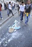 Émeutes à Rome - protestation italienne d'étudiants Images libres de droits