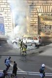 Émeutes à Rome - protestation italienne d'étudiants Image libre de droits