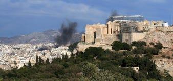 Émeutes d'Athènes Photo libre de droits