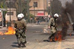 Émeutes d'Athènes, rassemblement d'étudiants, 2006 Images libres de droits