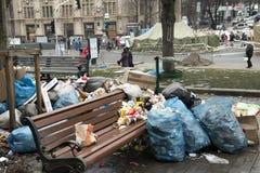 Émeutes dans la rue de Khreschatyk à Kiev Photo stock
