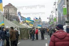 Émeutes dans la rue de Khreschatyk à Kiev Image libre de droits