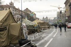 Émeutes dans la rue de Khreschatyk à Kiev Photos stock
