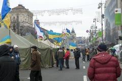 Émeutes dans la rue de Khreschatyk à Kiev Images stock