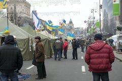 Émeutes dans la rue de Khreschatyk à Kiev Photographie stock