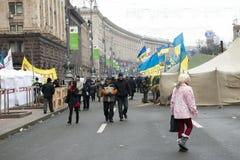 Émeutes dans la rue de Khreschatyk à Kiev Photos libres de droits