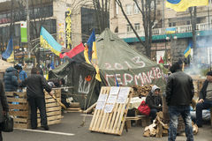 Émeutes dans la rue de Khreschatyk à Kiev Images libres de droits
