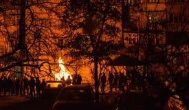 Émeutes dans la ville Photo stock