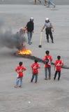 Émeutes de défenseur du football Images libres de droits