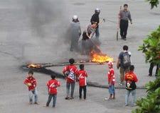 Émeutes de défenseur du football Photo stock