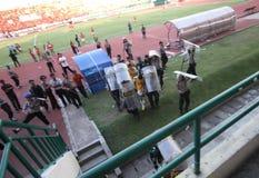 Émeutes de défenseur du football Photo libre de droits