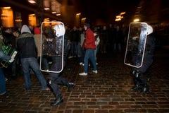 Émeutes et police Photographie stock