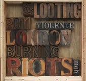 Émeutes, mots de pillage Image libre de droits