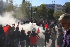 Émeutes pendant les protestations Images stock