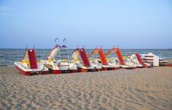 Émilie-Romagne, Italie, bateaux sur la plage La station de vacances célèbre de Images stock