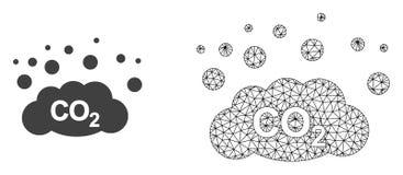 Émission de gaz de CO2 de maille de carcasse de vecteur et icône plate illustration de vecteur