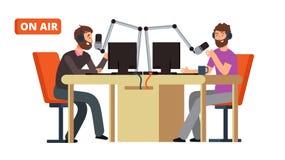 Émission de radio Radio de radiodiffusion DJ parlant avec des microphones sur l'air Concept de vecteur illustration de vecteur