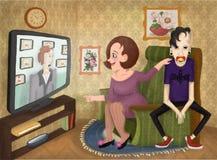 Émission de TV au sujet de la psychologie des enfants illustration de vecteur