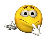 émoticône 3D souriante confuse Image libre de droits