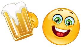 Émoticône avec de la bière Image libre de droits