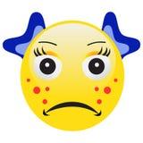 Émoticône avec l'acné serrant un bouton Photo libre de droits