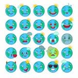 Émoticônes bleues de globe du monde réglées illustration stock