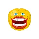 Émoticône de sourire Emoji fol heureuse est une émotion Boule jaune illustration stock