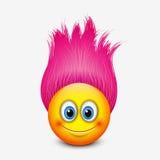 Émoticône mignonne avec les cheveux roses - emoji - dirigez l'illustration Image libre de droits