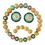 Émoticône triste faite à partir des batteries d'isolement Photographie stock libre de droits