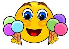 Émoticônes de sourire tenant la crème glacée  illustration stock