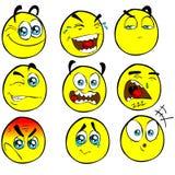 Émoticônes drôles de dessin animé de LOCATIONS Photographie stock libre de droits