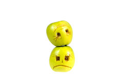 Émoticônes heureuses et tristes des pommes Sentiments, attitudes Photos libres de droits