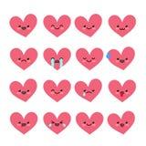 Émoticônes mignonnes de coeur réglées Photographie stock