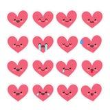 Émoticônes mignonnes de coeur réglées Image stock