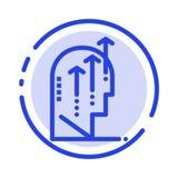 Émotif, croissance, humain, intelligence, ligne pointillée bleue ligne icône d'esprit illustration stock