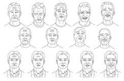 Émotion d'homme - joie, paix, colère, tristesse illustration de vecteur