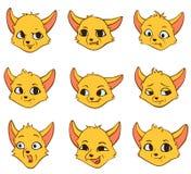 Émotion de bande dessinée d'ensemble de vecteur de renard jaune illustration de vecteur