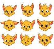 Émotion de découpe de bande dessinée de vecteur de renard jaune illustration de vecteur