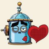 Émotion de smiley de tête de robot d'emoji de baiser d'amour d'émoticône illustration stock