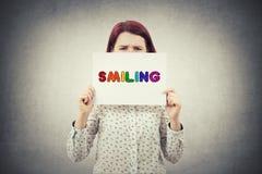 Émotion de sourire des textes images stock