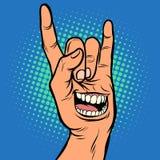 Émotion de sourire, geste de roche de main d'hommes illustration de vecteur