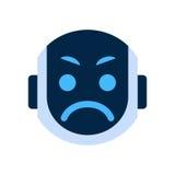 Émotion fâchée Emoji robotique de visage d'icône de visage de robot illustration stock