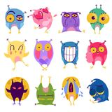 Émotion Owl Stickers Set illustration libre de droits