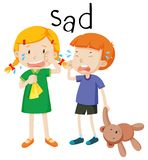 Émotion triste de deux enfants illustration de vecteur