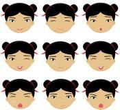 Émotions chinoises de fille : joie, surprise, crainte, tristesse, peine, cri illustration libre de droits