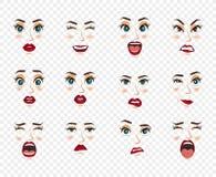 Émotions comiques Expressions du visage de femmes, gestes, déception d'enchantement de tristesse de dégoût de surprise de bonheur illustration de vecteur