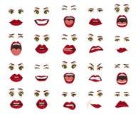 Émotions comiques Expressions du visage de femmes, gestes, déception d'enchantement de tristesse de dégoût de surprise de bonheur illustration libre de droits
